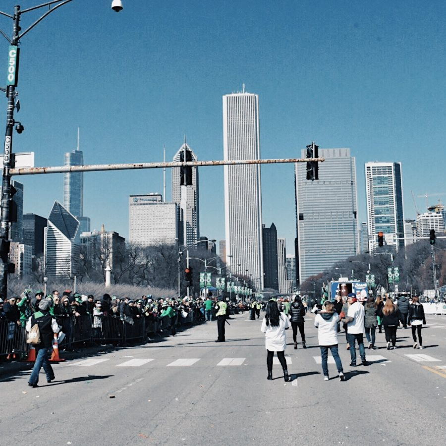 The annual St. Patricks Day parade takes place on Columbus Drive between Balbo Drive in Grant Park in the South Loop and Randolph Street on the New East Side by Maggie Daley Park.