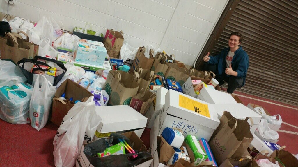 In the morning, students collected boxes from each first period class as well as other drop-offs.