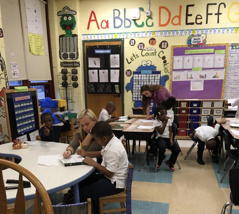 Sarah Hughes, senior, taught kids at Lavizzo Elementary School in Chicago last semester through the Invitation to Teach program.
