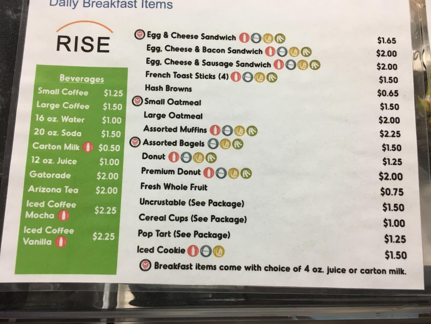 Quest Food Services recently updated its breakfast menu.
