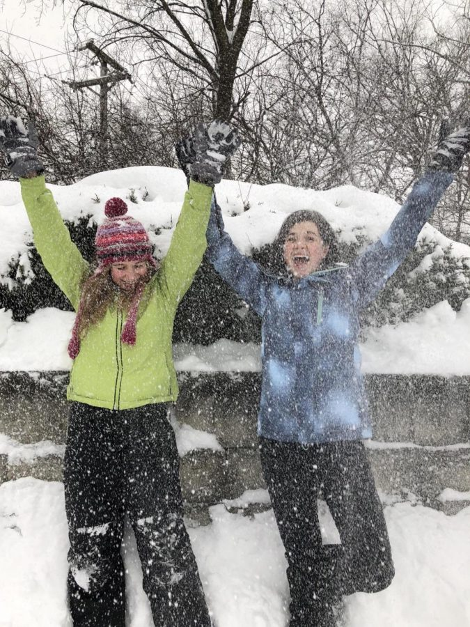 Most students, like Melina Slone and Jessica Joy, found ways to enjoy themselves during the district wide snow day on Feb. 9.