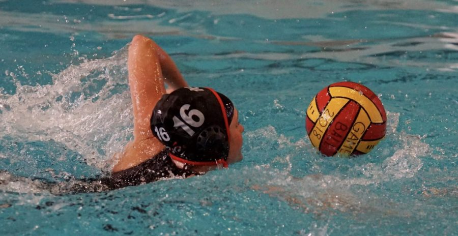 The girls varsity water polo team is working hard as their season comes to an end