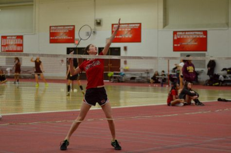 Badminton teams play in tournament