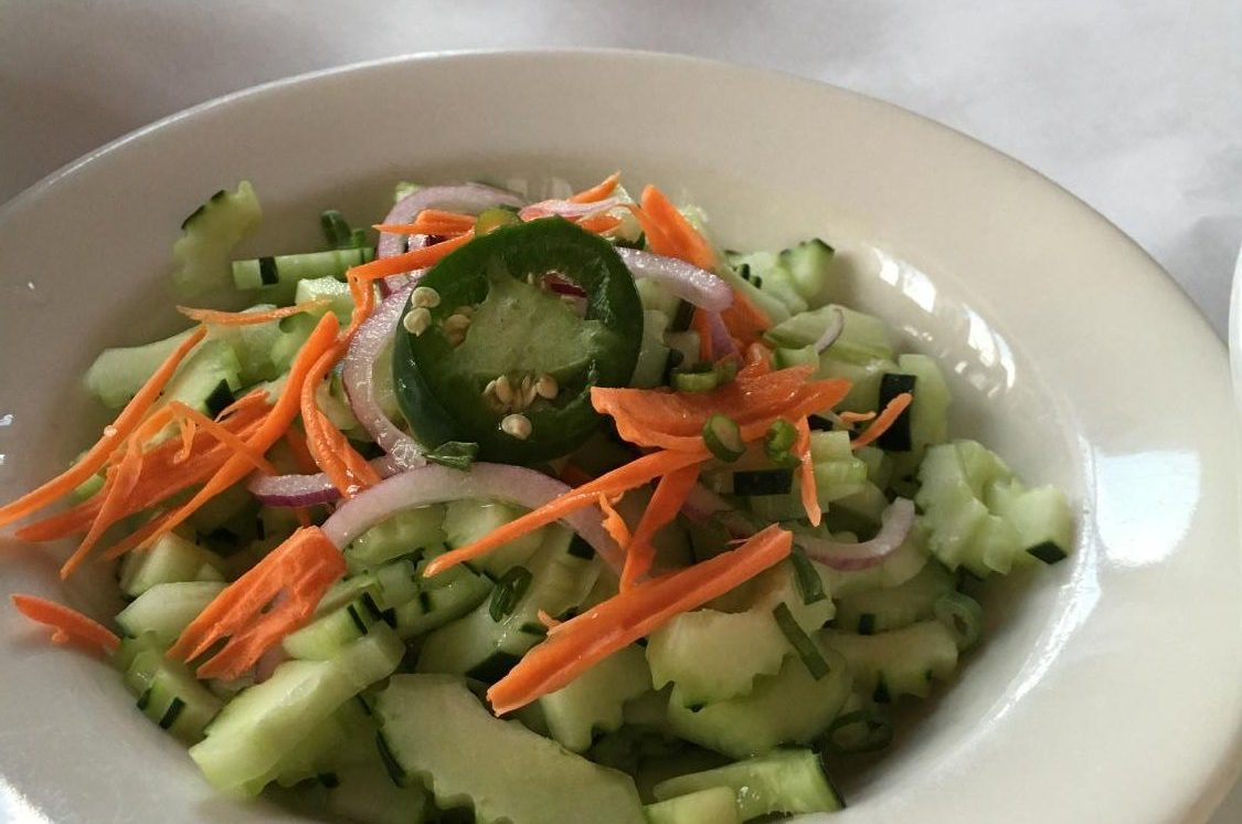 The cucumber salad was incredibly fresh; the rice vinegar made the difference between good and great in this dish.