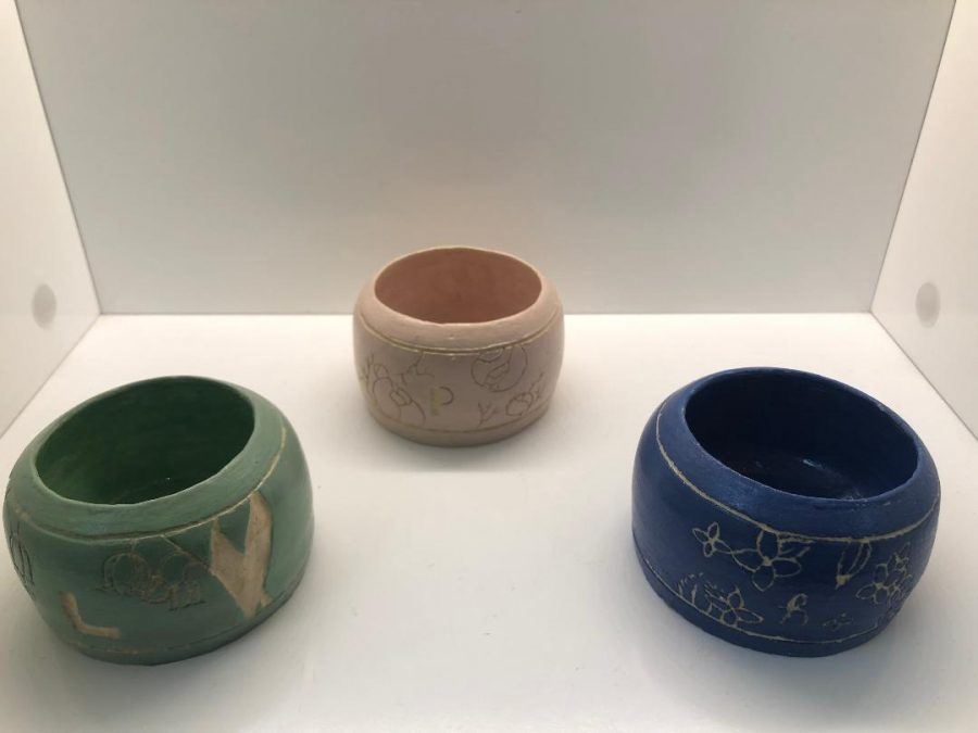 These ceramic pieces were created by Lexi Sanduval.