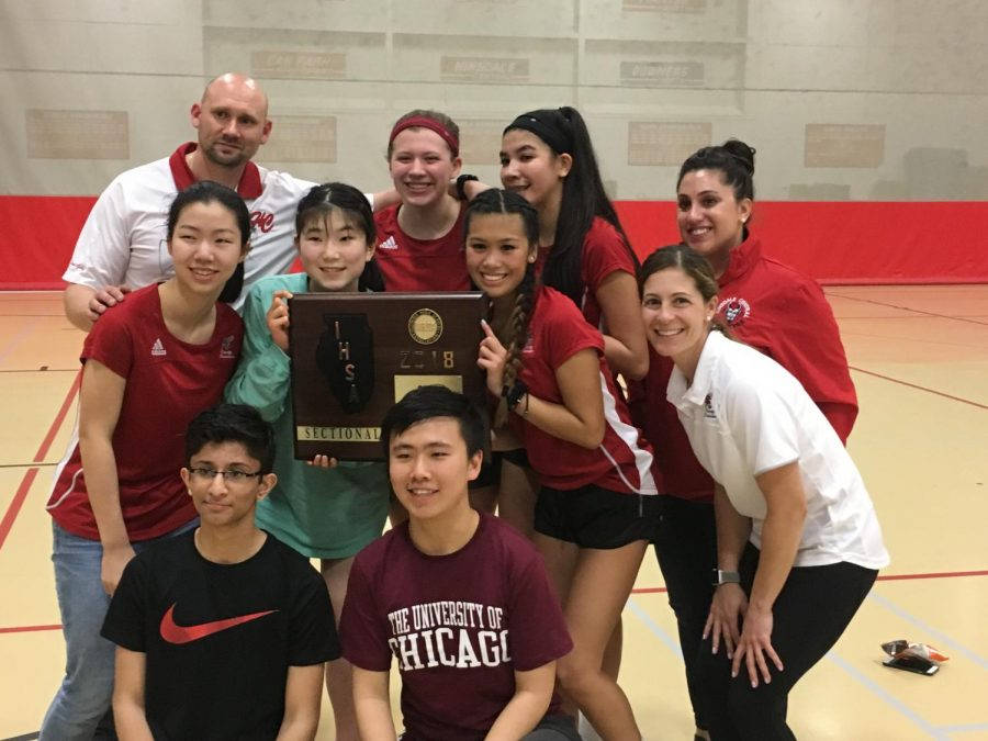 The+girls+varsity+badminton+team+placed+first+in+their+sectional+meet+on+Thursday%2C+May+3%2C+advancing+them+to+the+state+competition.+
