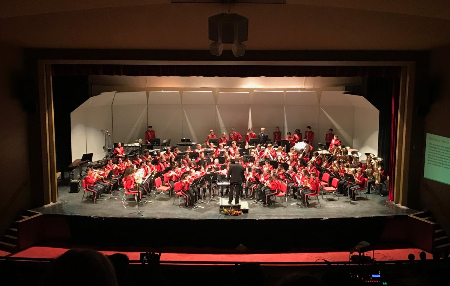 On Thursday, May 3, band students kicked off a month full of performances with two spring band concerts at 6:30 p.m. and 8 p.m. Out of all of band's six performances this May, the spring concerts were the last performances in a professional, concert-hall-like venue in the auditorium.