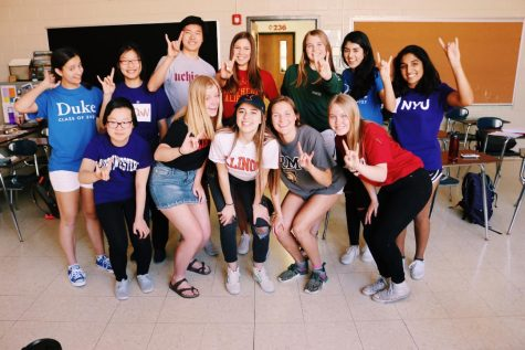 (Clockwise from top left) Seniors Parker Frankewicz, Xinru Li, Alex Choi, Maddie Studnika, Claire Elman, Juliana Mayer, Riya Jain, Meg Keller, Hollis Clark, Rama Hamad, Caroline Bowater, and July Chen show off their future colleges on Monday, May 1 for Decision Day.