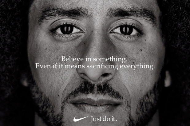 Nike%27s+thirtieth+anniversary+campaign+ad+showcased+Kaepernick+as+their+new+face.+