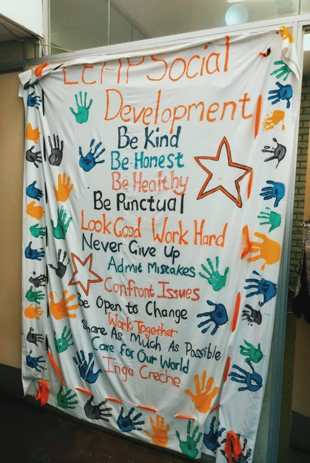 A sign in one of the LEAP schools showed the characteristics of students.
