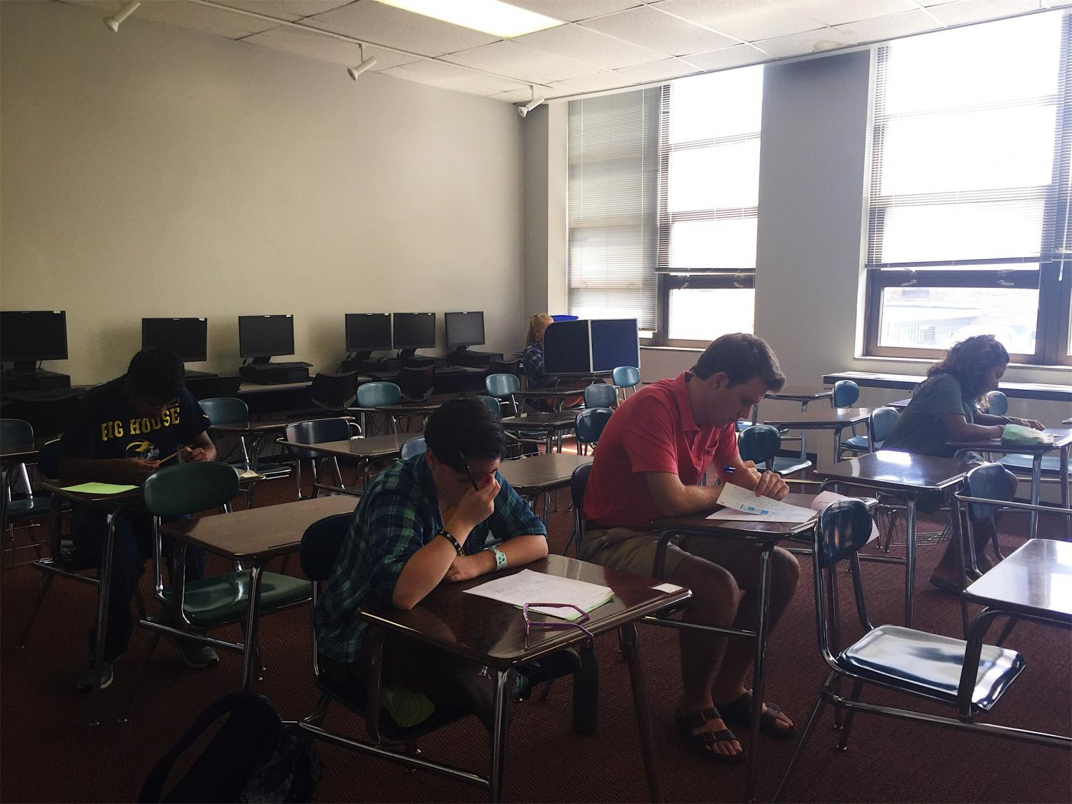Students make up tests and quizzes in the testing center; an option for those who miss school.