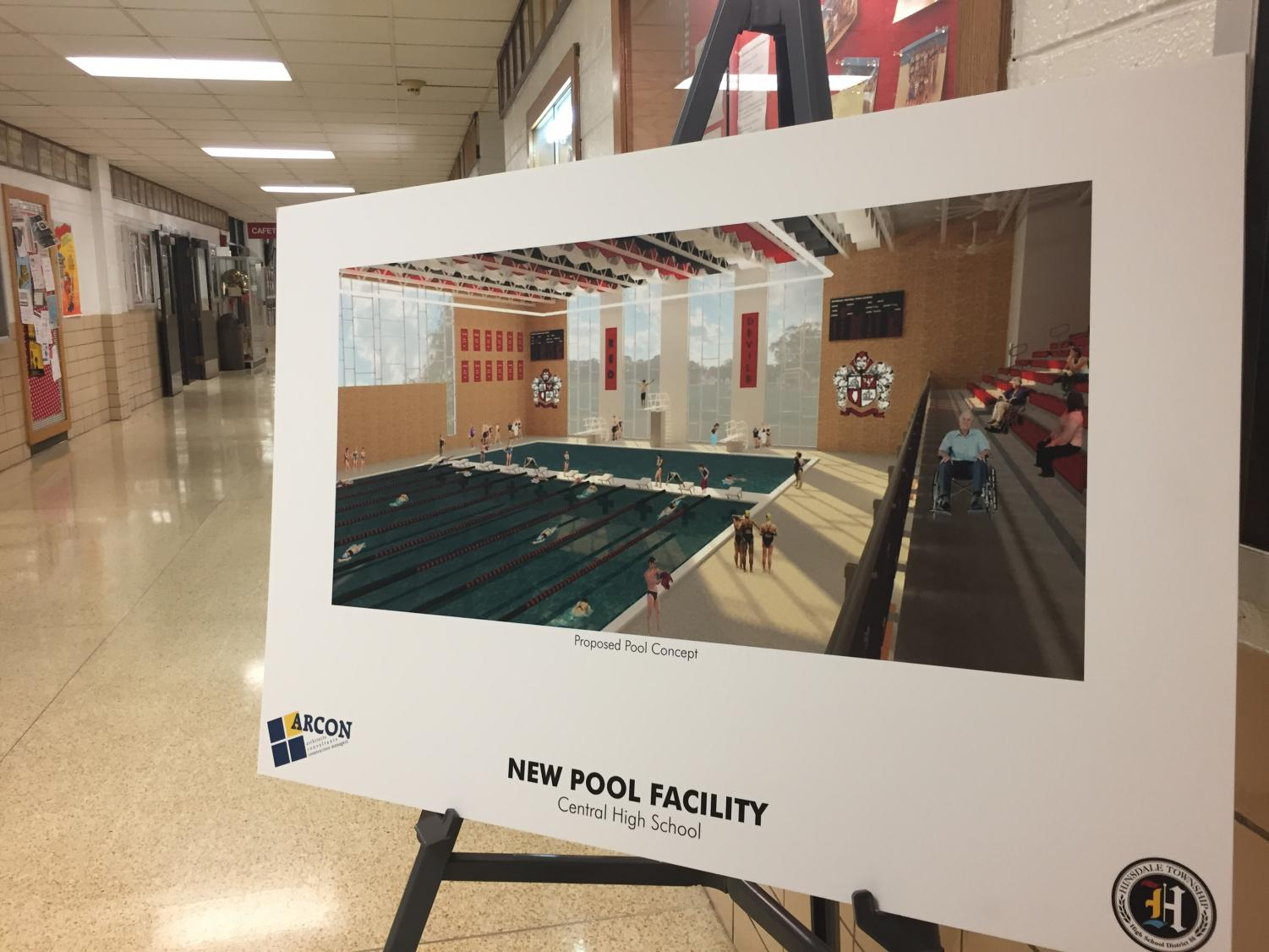 The future pool plan will be located at the end of the science hall and run along the outside of the school.