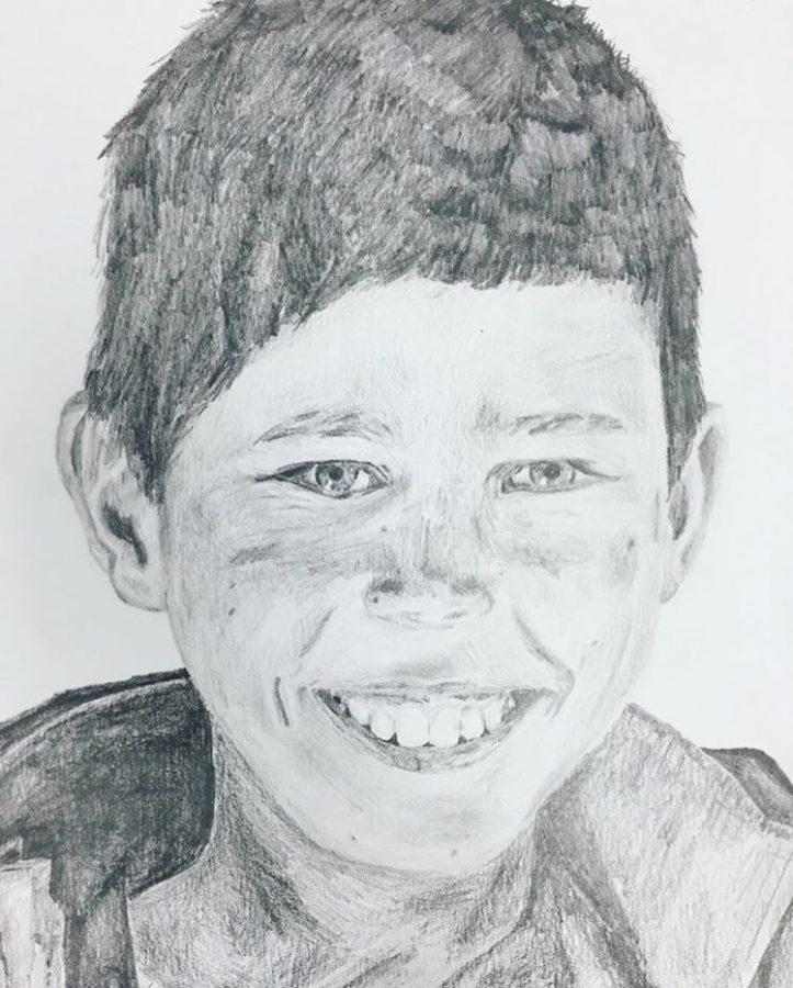 Litwin created a portrait of an Afghani boy.