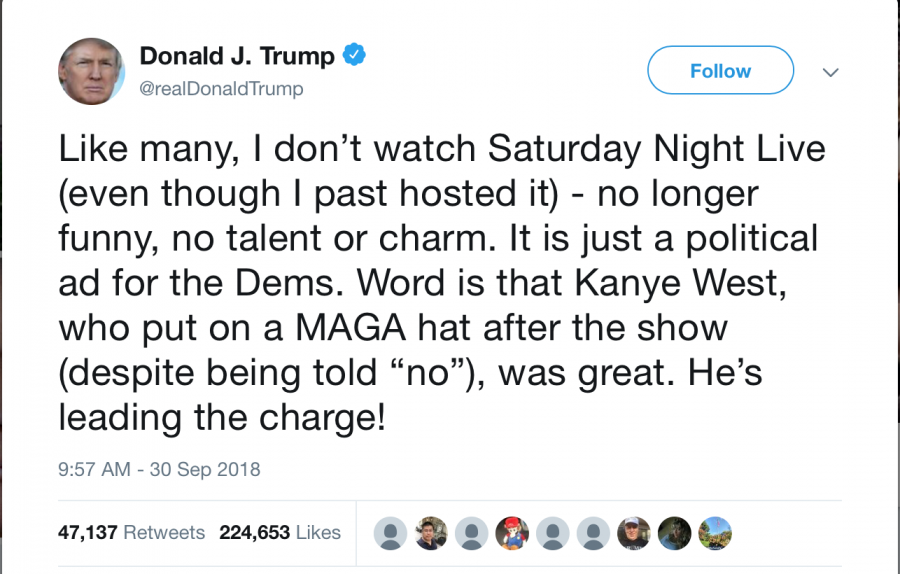 President Trump praises Kanye West for vocalizing his support.