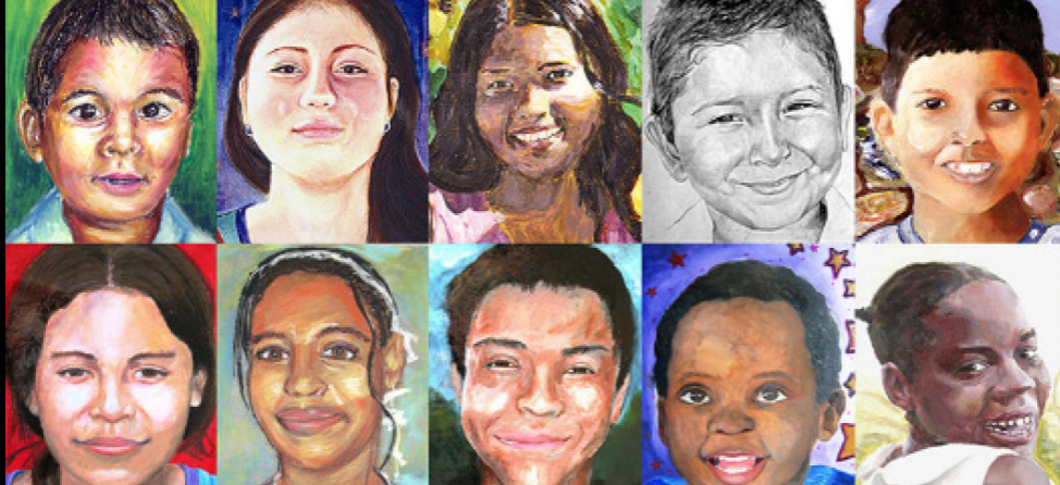 The portraits that students make for the Memory Project are based off of individual pictures.