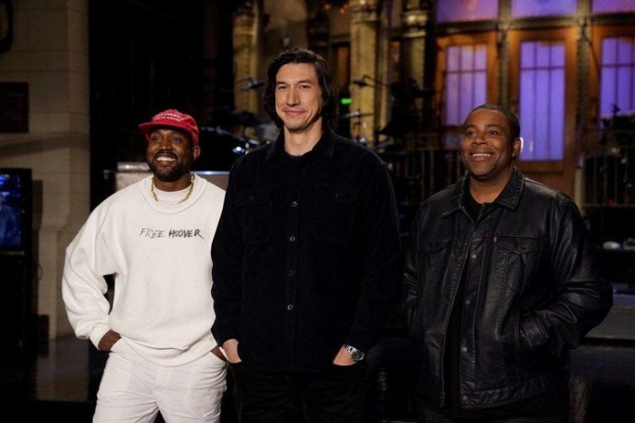 Kanye West wears a MAGA hat for a SNL promo alongside host Adam Driver and cast member Kenan Thompson.