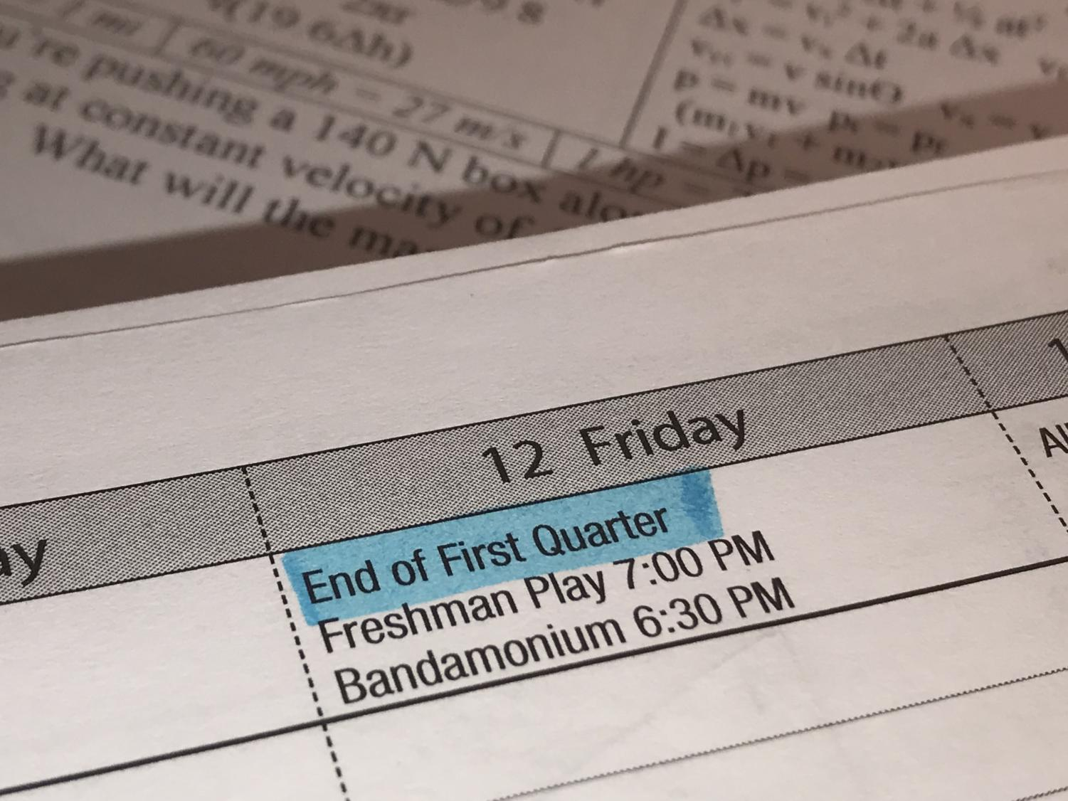 The end of first quarter was Oct. 12, with preparations for students to succeed in second quarter following immediately afterwards.