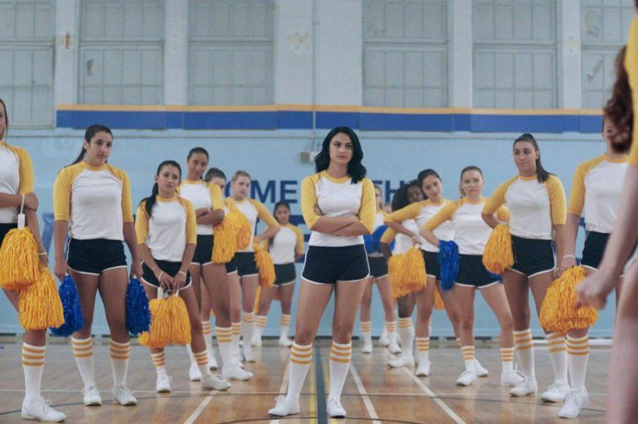 Veronica Lodge is pictured wearing her Riverdale Vixen cheer practice uniform.