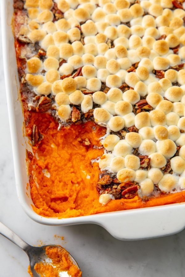 Pictured is a popular holiday side-dish, sweet potato casserole.