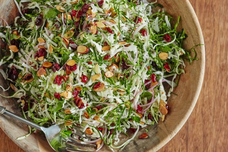 This colorful slaw is a great and healthy addition to Thanksgiving.