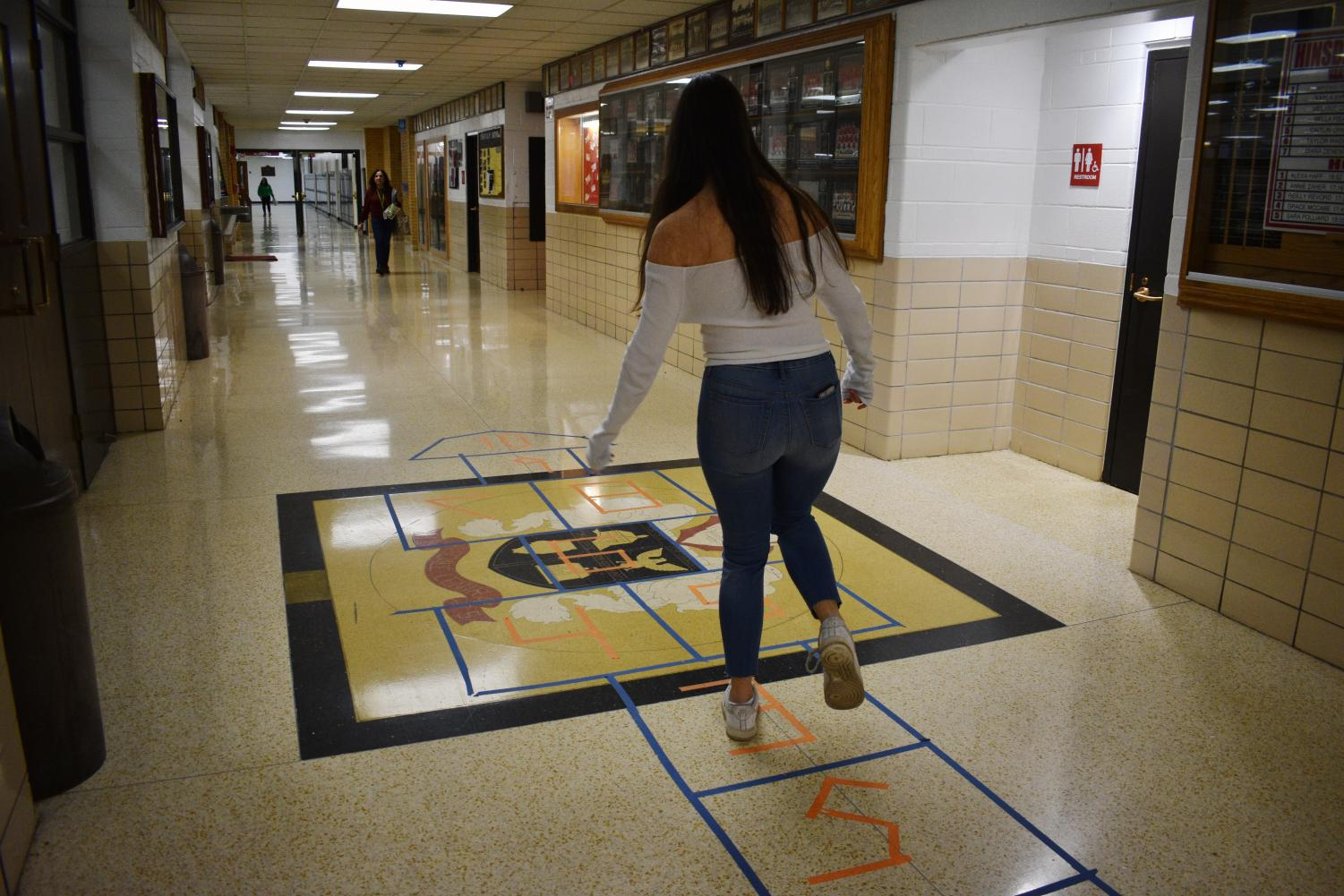 Along with the many activities being hosted around the school students can find hopscotch and board games taped to the floor.