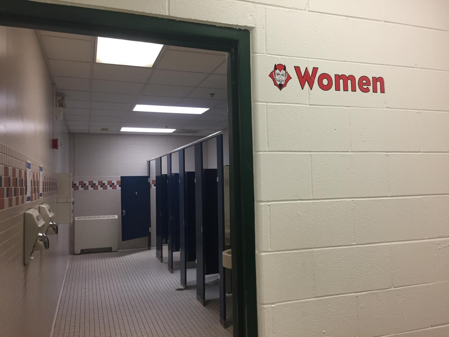 Several bathrooms all around the school are lacking doors, such as this one in the social studies hallway.