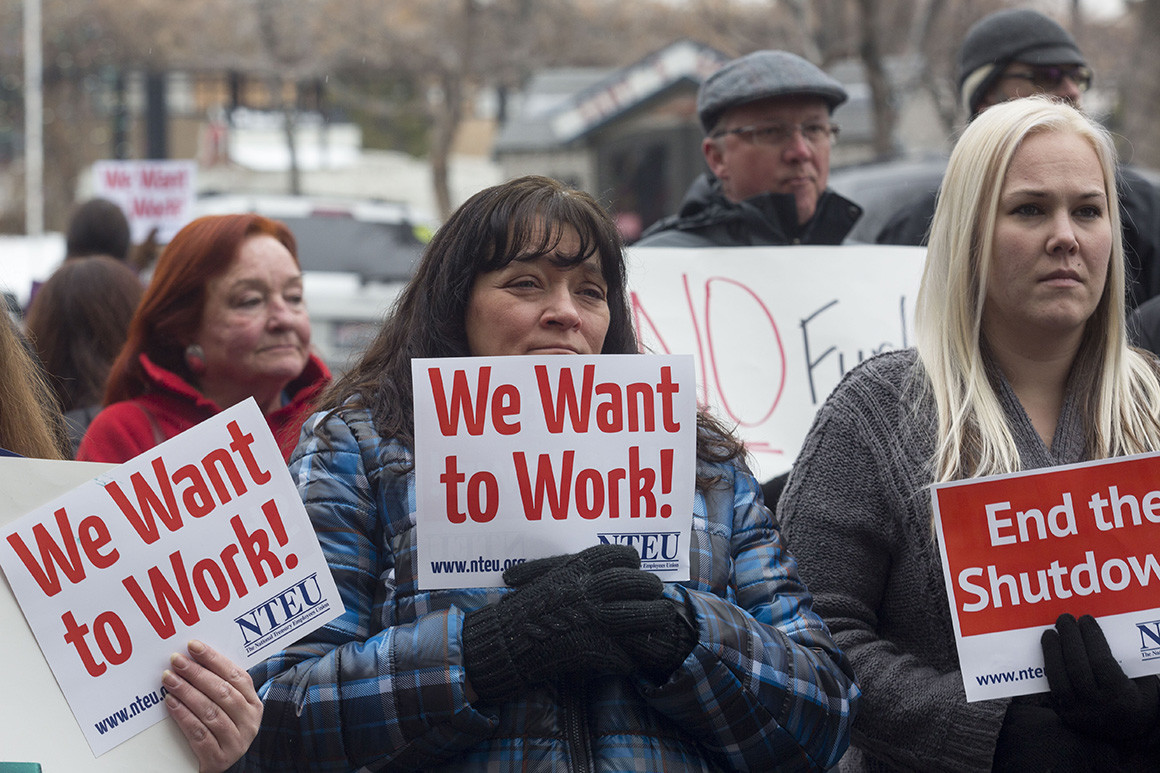 Many furloughed employees have protested against the shutdown as it shows no signs of ending.