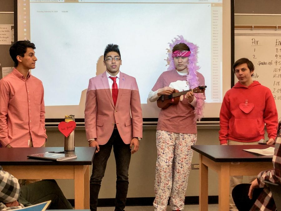 A group of choir boys sing a valentine in AP Chemistry.
