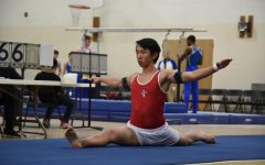 Herbert Wang, junior, competed in floor at the invitational on Friday, March 8.