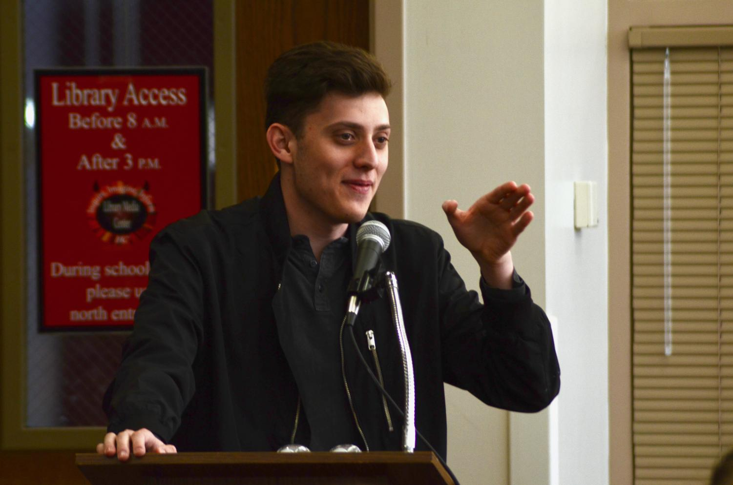 On Friday, March 8, the Conservative Club hosted Kyle Kashuv, a Parkland shooting survivor and gun rights activist, to speak to students in the library.