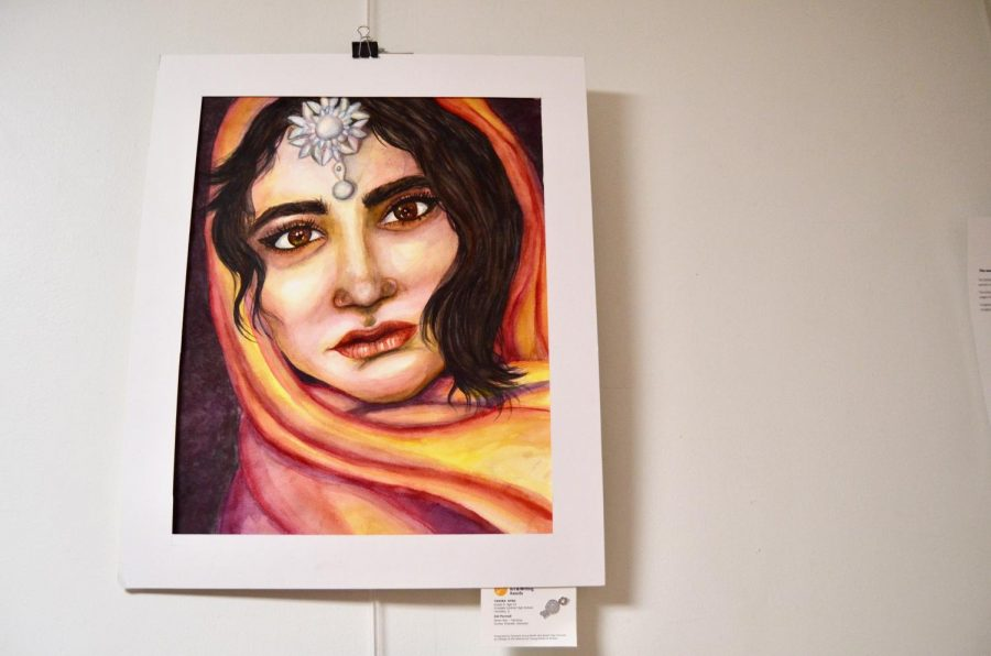 Tahira+Syed%2C+freshman%2C+painted+a+portrait+titled+%22Eid%2C%22+which+was+awarded+a+Silver+Key.+