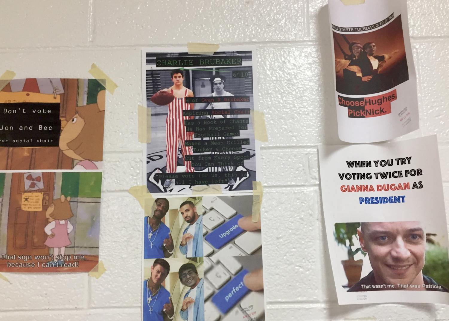 Many students have been campaigning for the election on Tuesday, March 19 by hanging humorous posters around the school.