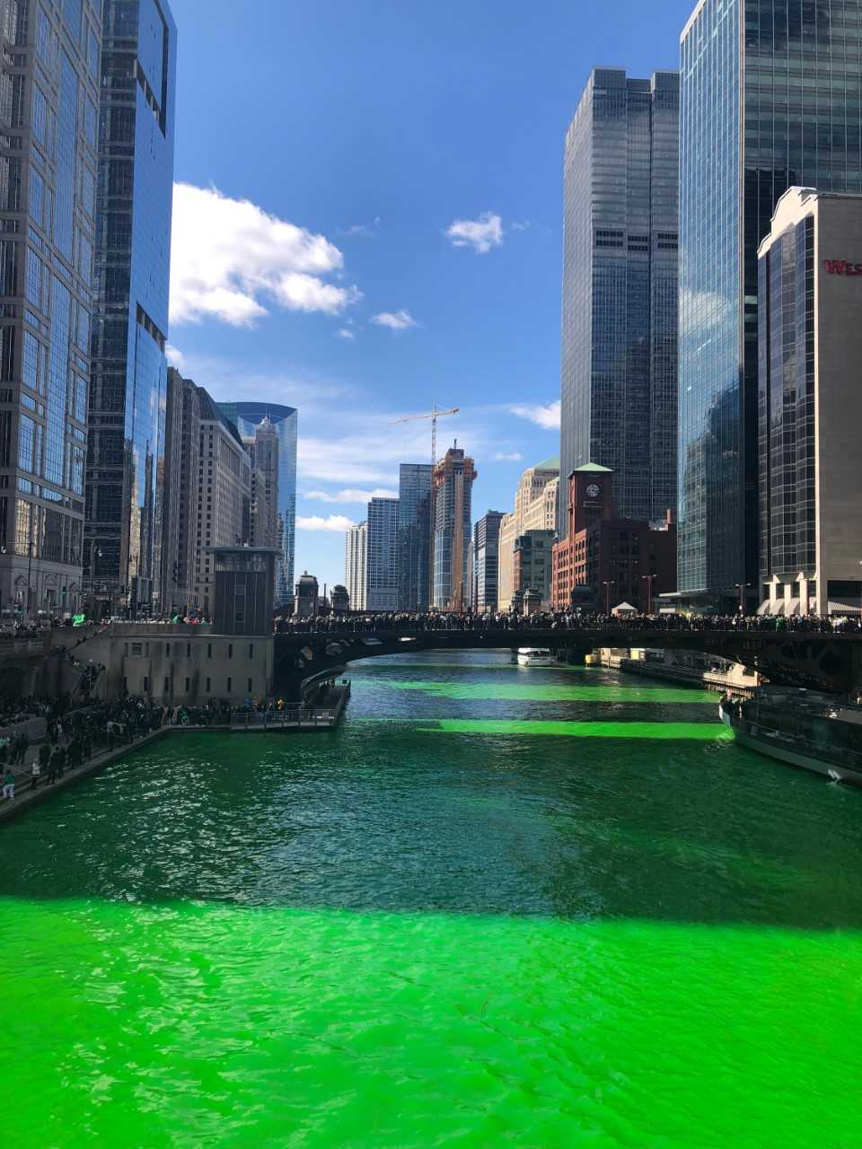 The Chicago River was dyed green for the St. Patrick's day celebrations that took place on Saturday, March 16 and Sunday, March 17.