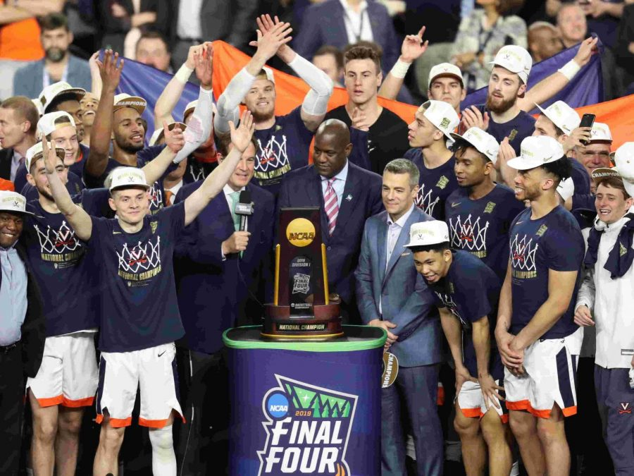 Pictured here is the Virginia basketball team as they celebrate their national championship.
