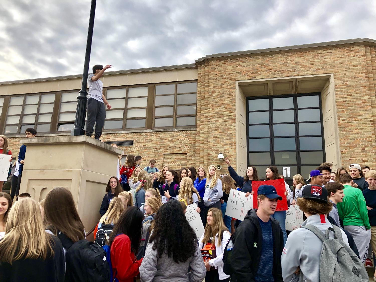 On Monday, April 1, students organized a walkout to promote people to vote yes for the D86 referendum.