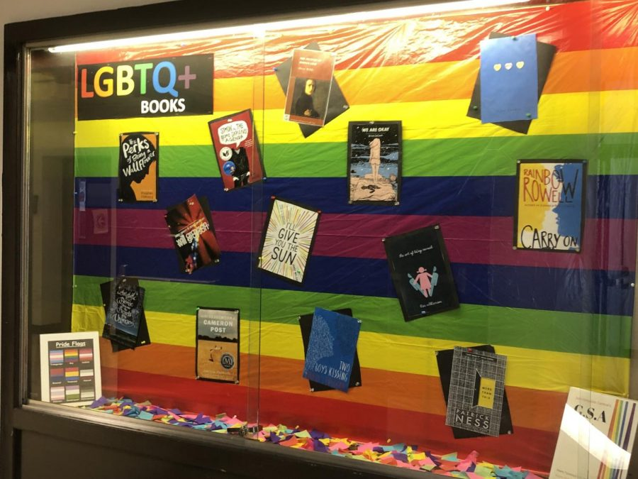 The Library's exhibit of LGBTQ+ books, on the day of silence.