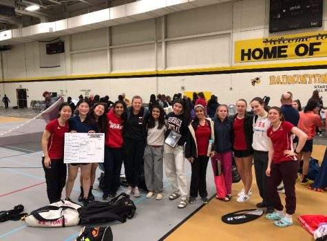 The varsity Badminton Team finished in second place at the Hinsdale South