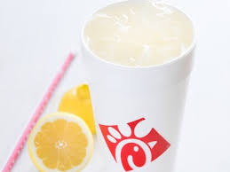Chic fil a lemonade is  refreshing on a warm spring or summer day.