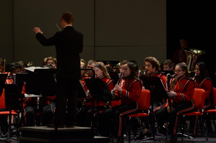 On Tuesday, May 7, all bands played in the annual spring concert in the auditorium.