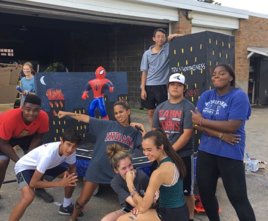 Many students elected to the Sophomore Student Senate, pictured here at the homecoming float parade in September, 2018, were reelected this year for the Junior Student Senate.