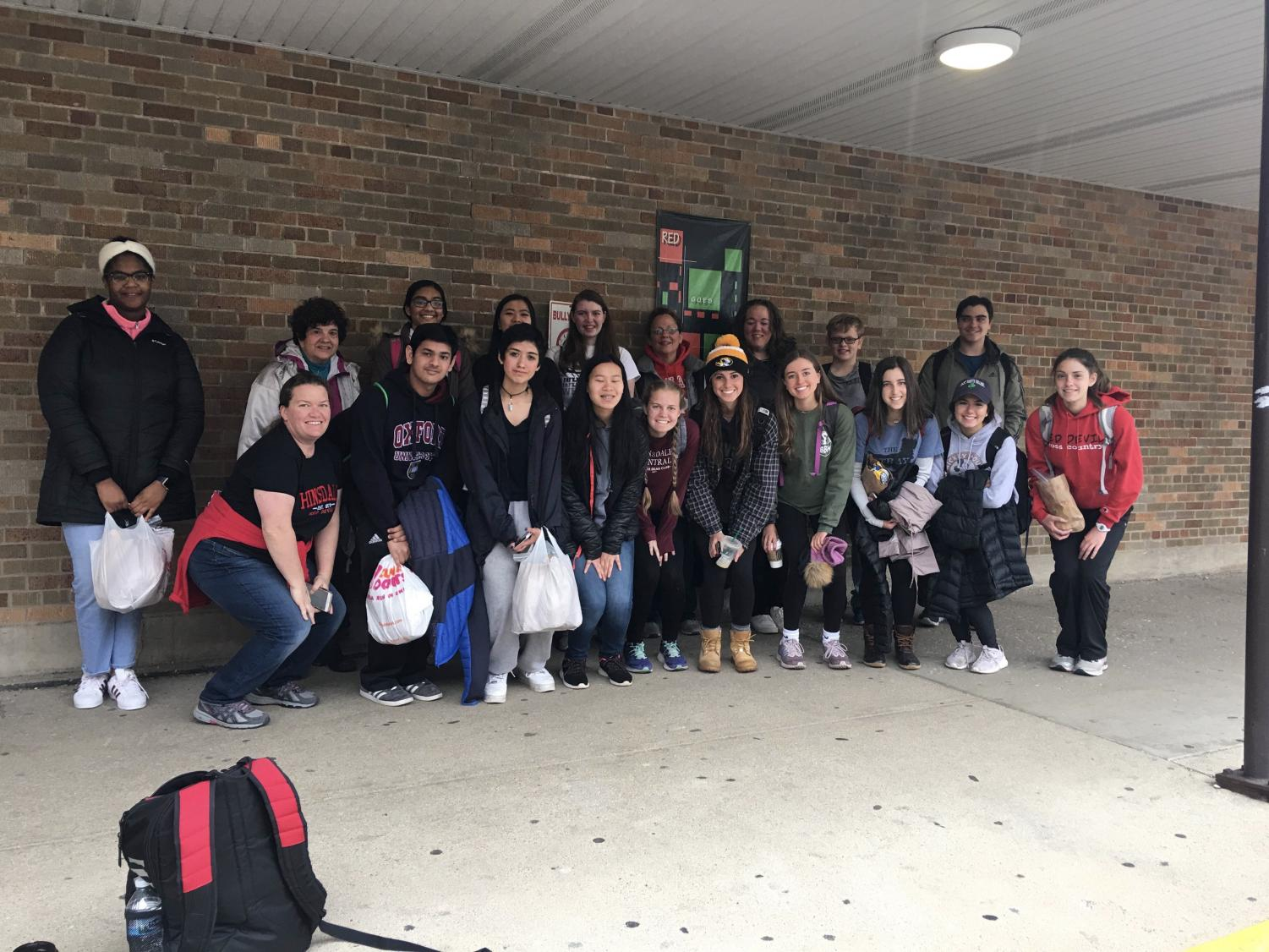 On Saturday,  May 4 Let's Help Out club members packed brown bags with necessities such as food, socks, and toothbrushes, and delivered them to the homeless of Chicago.