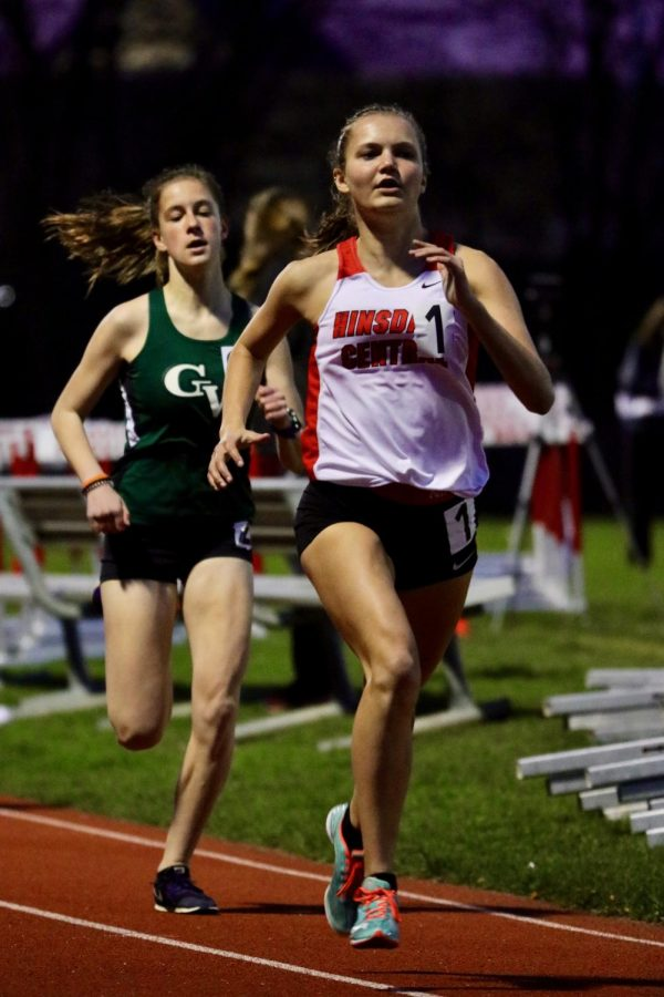 Diana Denemark, sophomore, passed freshman Anna Nickoley in the sophomore 800 run at the WSC silver conference championship. Denemark won her race in 2:28.93.