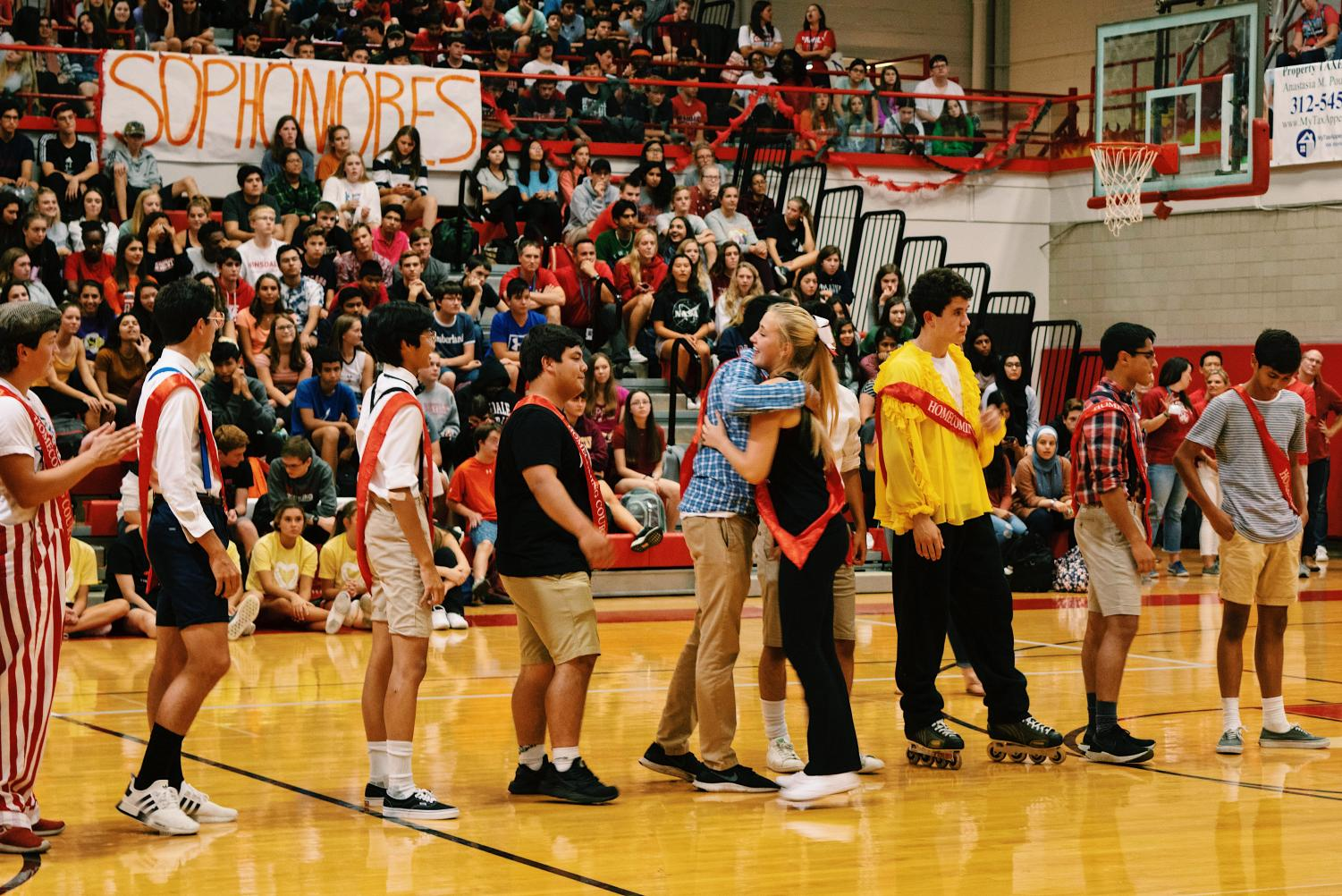 On Friday, Sept. 20, the homecoming court nominations assembly took place at the school gymnasium. The nominated seniors hugged each other down a line to congratulate each other.