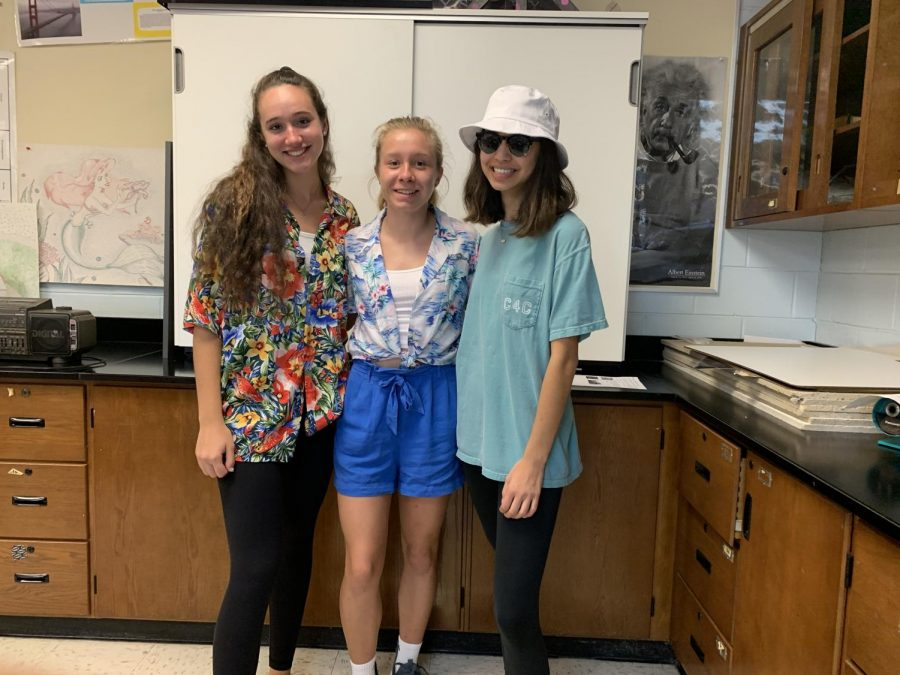 Juniors Belle McCarthy, Chiara Gregor, and Jackie Buccellato dressed up for beach day.