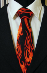 This fire printed tie is a unique way to incorporate the homecoming theme