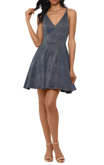 This metallic fit and flare dress from Nordstrom is very unique. It has the perfect amount of volume and sparkle to make the dress stand out.