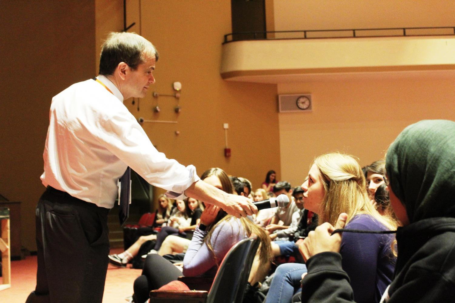 Congressmen Michael Bruce Quigley answers questions from students in the auditorium on Oct. 9 about the government and his work as a congressman.