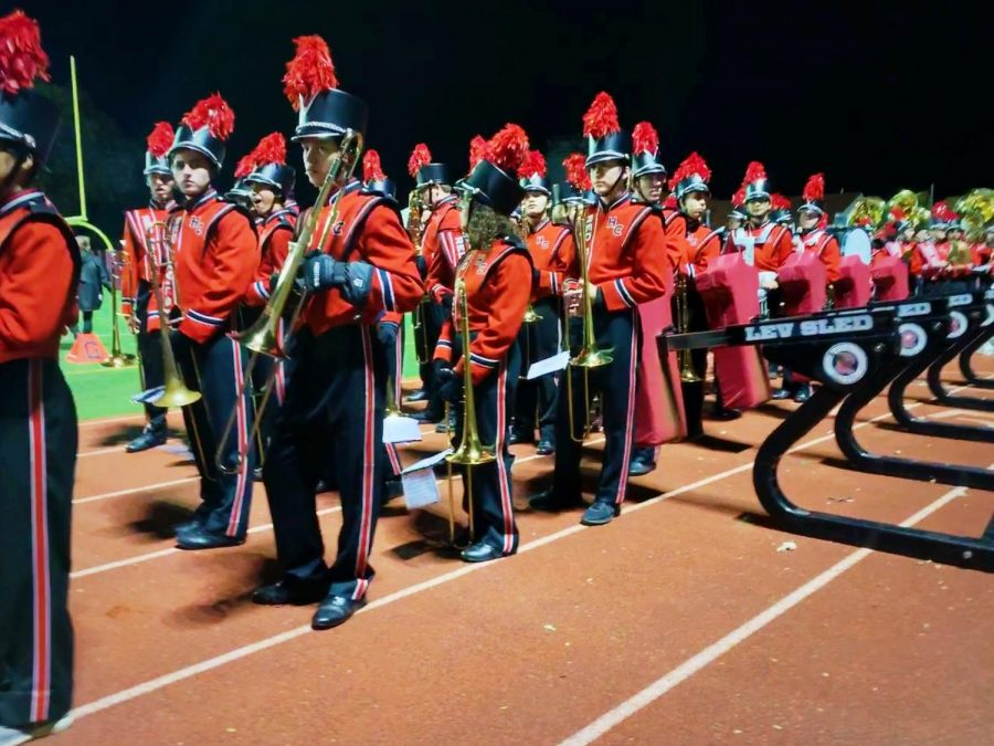 The HCHS Marching Band performs at halftime during the Central vs LT football game on Friday, Oct 25.