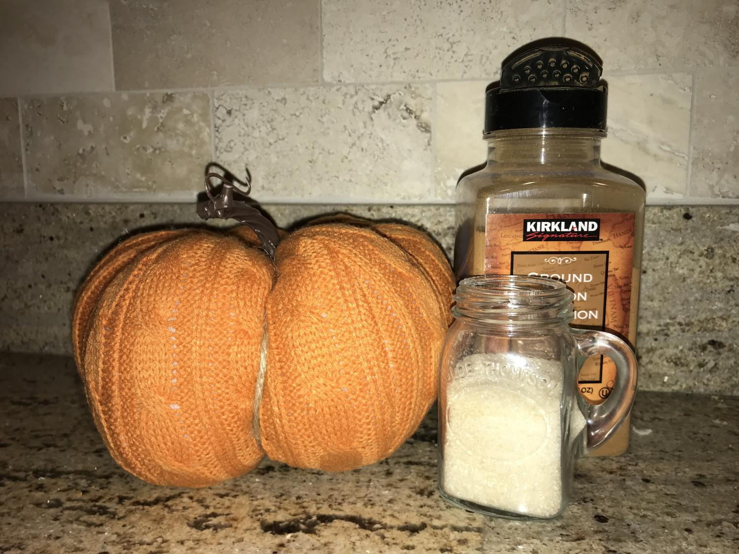 Pumpkin and spices like cinnamon are often used in fall foods. We used both of them to make roasted pumpkin seeds and pumpkin muffins.
