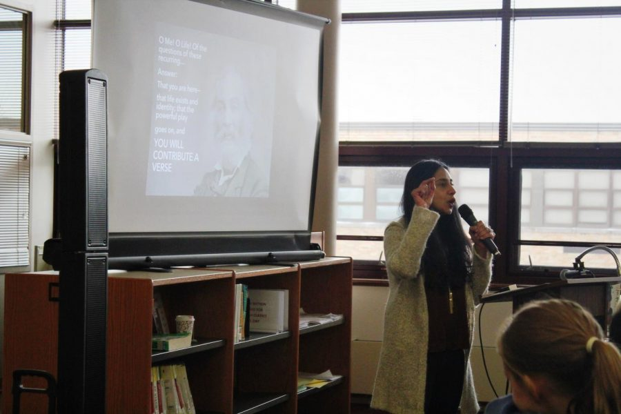 Author+Samira+Ahmed+speaks+to+students+in+the+library+on+Wednesday%2C+Nov.+13.+She+talked+about+her+journey+of+become+a+writer%2C+as+well+as+gave+tips+to+students+who+may+be+interested+in+a+similar+career+path.+